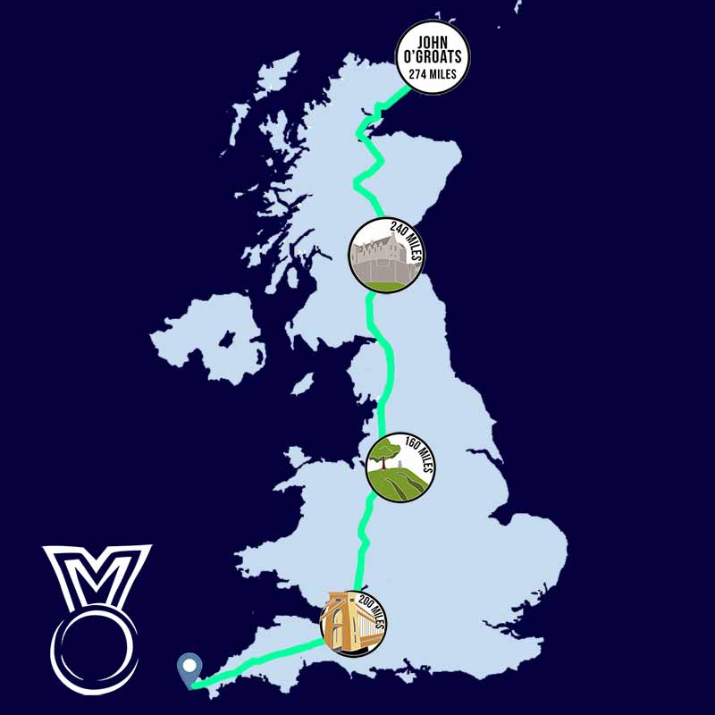 Lands End to John O Groats 874 Miles